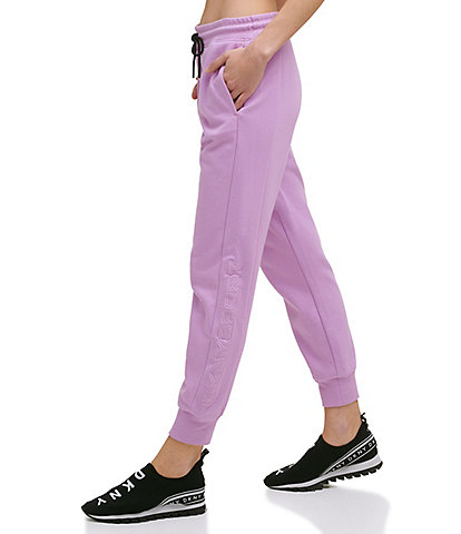 DKNY Sport Applique Side Panel Logo Mid Rise Drawstring Waist Relaxed Jogger Pants