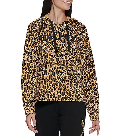 DKNY Sport Logo Leopard Print Cropped Hoodie Pullover