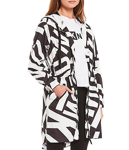 DKNY Sport Logo Print Longline Hooded Light Weight Jacket