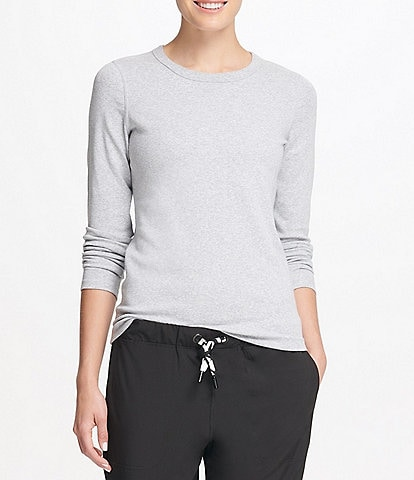 DKNY Sport Long Sleeve Embroidered Neckline Tee