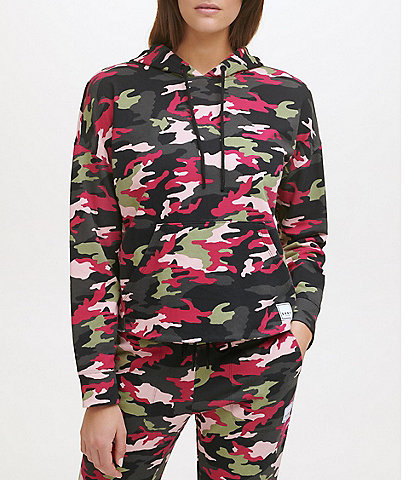 DKNY Sport Long Sleeve Coordinating Camo Print Square Logo Patch Hoodie