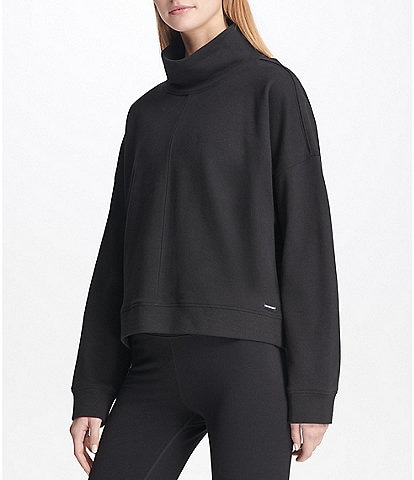 DKNY Sport Mock Neck Long Drop Shoulder Sleeve Top
