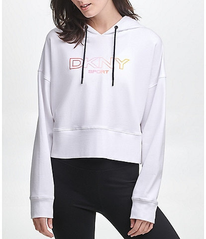 DKNY Sport Ombre Logo Cropped Coordinating Hoodie