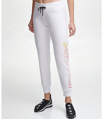 DKNY Sport Ombre Logo Cropped Coordinating Drawstring Joggers