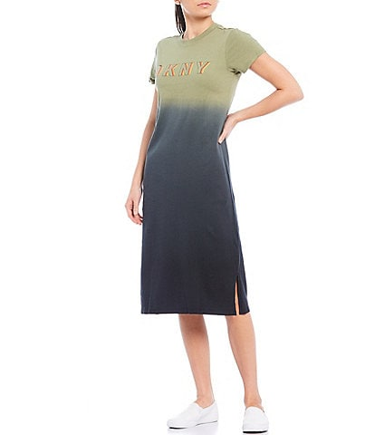 DKNY Sport Ombre Short Sleeve Logo Front Cotton Midi T-Shirt Dress