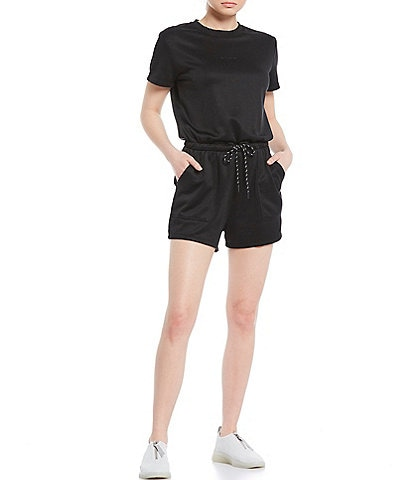 DKNY Sport Short Sleeve Mini Logo Drawcord Waistband Romper