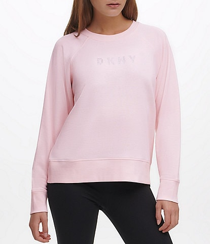 DKNY Sport Sparkle Logo Fleece Lined Long Sleeve Sweatshirt