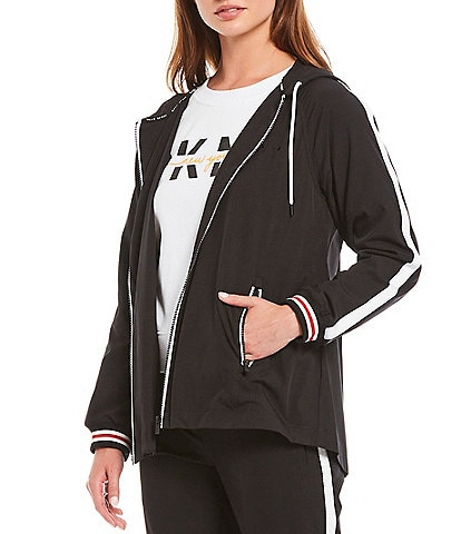 DKNY Sport Swing Hi-Low Hooded Commuter Jacket