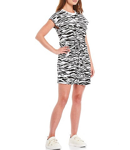 DKNY Sport Zebra Printed Short Sleeve Tie Waist Pullover Dress