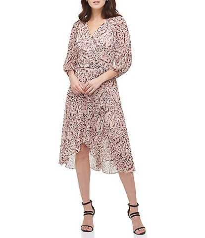 DKNY Spotted Print Chiffon Balloon Sleeve Surplice V-Neck Faux Wrap Dress
