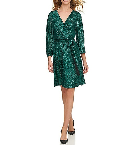 DKNY Stretch Sequin 3/4 Sleeve Tie Waist Faux Wrap Dress