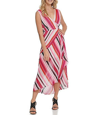 DKNY Stripe Print Chiffon Surplice V-Neck Hi-Low Sleeveless Dress