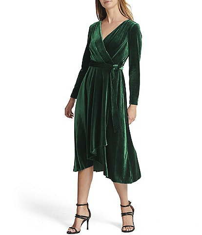 DKNY Surplice V-Neck Long Sleeve Velvet Faux Wrap Tie Waist Hi-Low Midi Dress