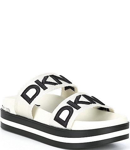 DKNY Tee 2 Band Logo Platform Slides
