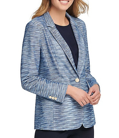 DKNY Textured One Button Notch Lapel Jacket