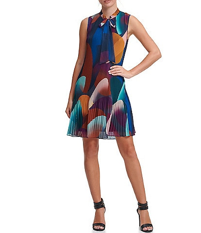 DKNY Tie Neck Abstract Geometric Print Pleated Chiffon Shift Dress