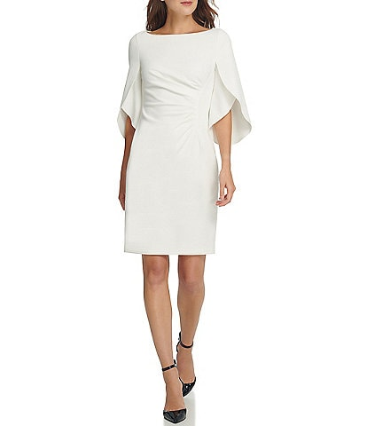 DKNY Tulip Sleeve Scuba Crepe Sheath Dress
