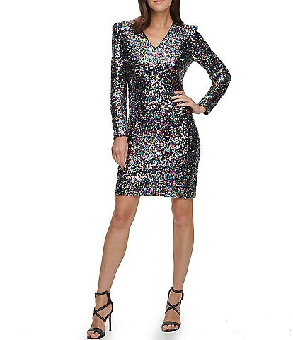 DKNY V-Neck Long Sleeve Puff Shoulder Sequin Sheath Dress