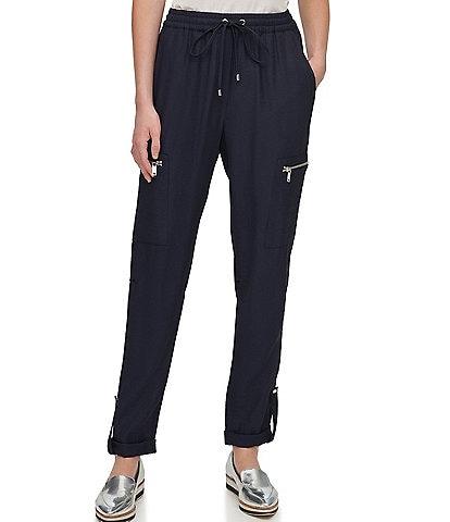 DKNY Washer Twill Cargo Pocket Roll-Tab Hem Drawstring Pants