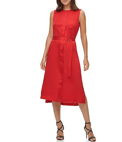 DKNY Woven Sleeveless Hidden Button Front Side Slit Belted Midi Dress