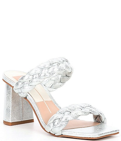 Dolce Vita Paily Braided Metallic Block Heel Dress Mules