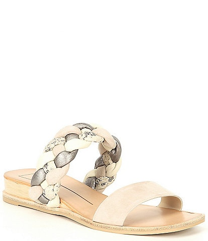 Dolce Vita Persey Braided Suede Leather Snake Print Wedge Slides