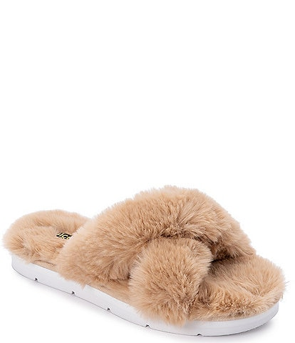 Dolce Vita Pillar Faux Fur Criss-Cross Slippers