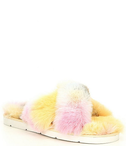 Dolce Vita Pillar Faux Fur Tie-Dye Cross Band Slides