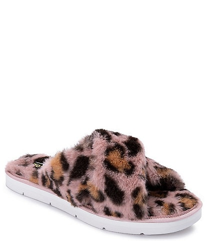 Dolce Vita Pillar Leopard Print Faux Fur Criss-Cross Slippers