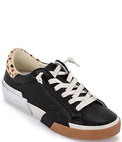 Dolce Vita Zina Leather Leopard Print Calf Hair Accent Sneakers