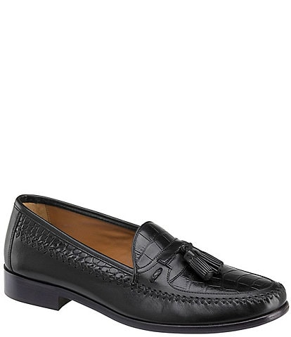 Domani Men's Reeves Embossed Croc Tassel Loafers