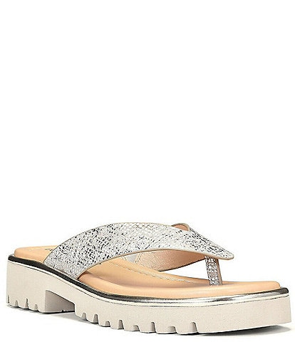 Donald Pliner Bloom Metallic Leather Lugged Sole Thong Sandals