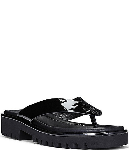 Donald Pliner Bloom Patent Leather Lugged Sole Thong Sandals
