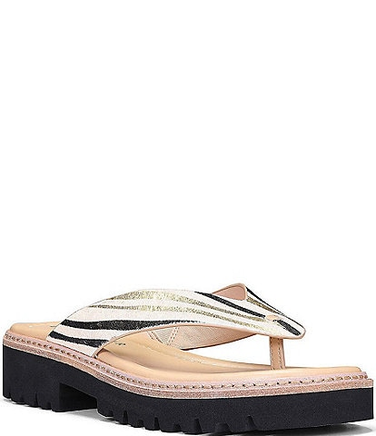 Donald Pliner Bloom Tiger Print Calf Hair Lugged Sole Thong Sandals