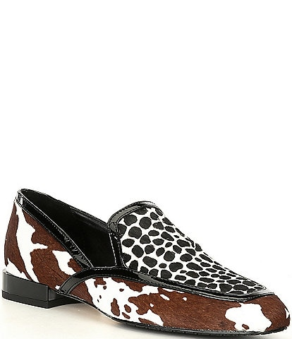 Donald Pliner Rezza Cow Giraffe Print Haircalf Block Heel Loafers