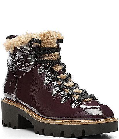Donald Pliner Erin Leather Shearling Hiker Ankle Booties