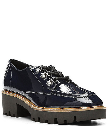 Donald Pliner Evans Crinkle Patent Leather Lace-Up Lug Sole Loafers