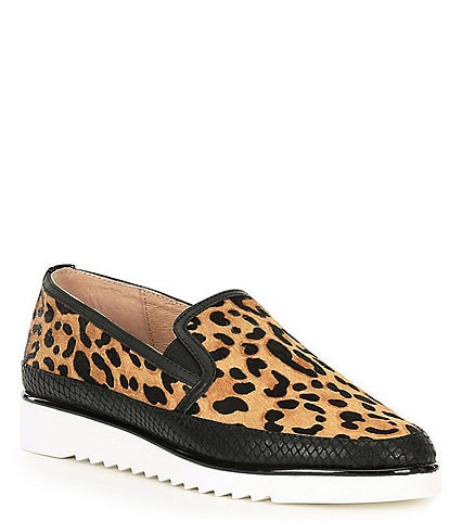 Donald Pliner Finni2 Leopard Print Calf Hair Snake Print Leather Slip-On Loafers