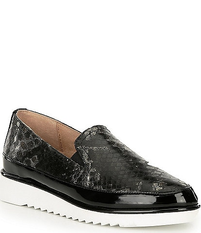 Donald Pliner Finni2 Python Snake Print Leather Slip-On Wedge Loafers