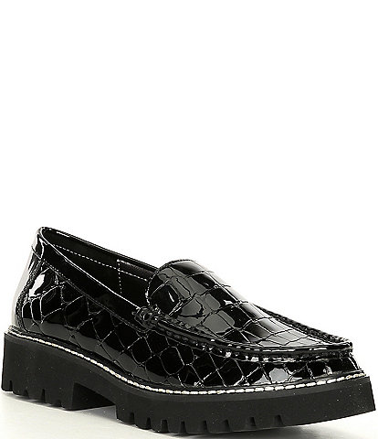 Donald Pliner Hope Croc Embossed Patent Leather Lug Sole Loafers