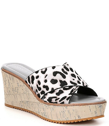 Donald Pliner Ideal Leopard Print Calf Hair X Band Platform Wedge Slides