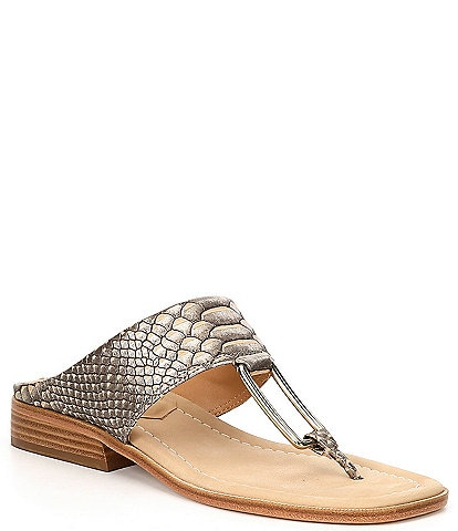 Donald Pliner Lonnie Python Print Leather Thong Sandals
