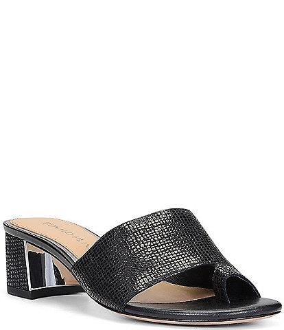 Donald Pliner Melrose Leather Toe Loop Block Heel Dress Slides