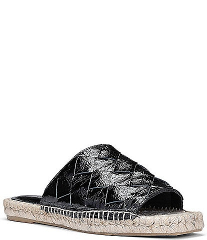 Donald Pliner Nyce Woven Patent Leather Flat Espadrille Slides