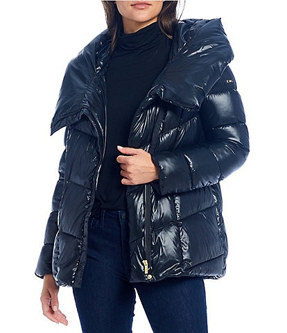 Donna Karan Asymmetrical Closure Hooded Down Puffer Coat