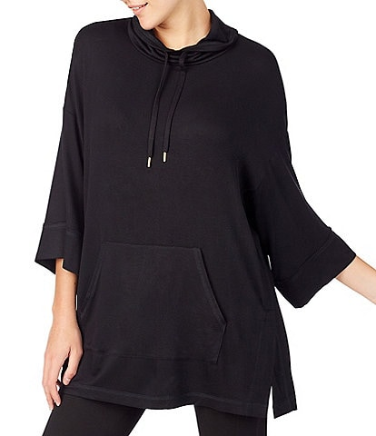 Donna Karan Brushed Back French Terry 3/4 Sleeve Poncho