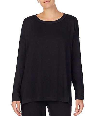 Donna Karan Brushed Back French Terry Long Sleeve Top