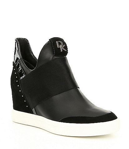 Donna Karan Cailin Hidden Leather Wedge Sneakers