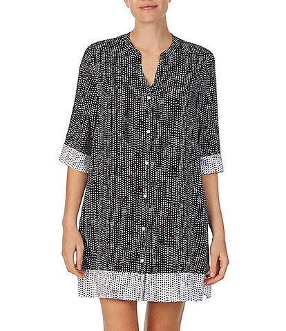 Donna Karan Sleepwear Dot Print Knit Button-Front Sleep Shirt