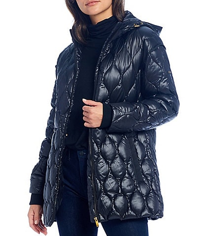 Donna Karan Down Hooded Quilted Anorak Coat